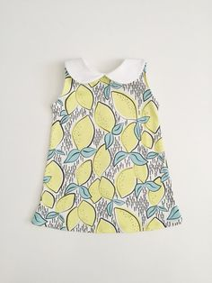Lemon Dress, Organic Dress, Tank Dress, Peter Pan Collar Dress, Baby Dress, Toddler Dress, Kids Dress