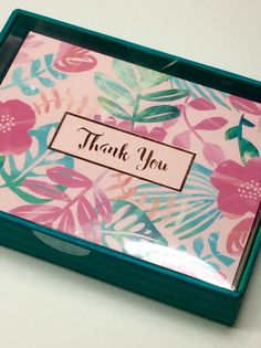 CLEMENTINE BOXED SET OF 16 BLANK PINK  FOIL THANK YOU FLORAL NOTE CARDS.NIB #CLEMENTINE #ThankYou