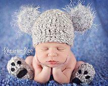 Baby Boy Hut KOALA Neugeborenen Baby Boy häkeln Koala Bär Hut und Booties Hausschuhe Pfoten