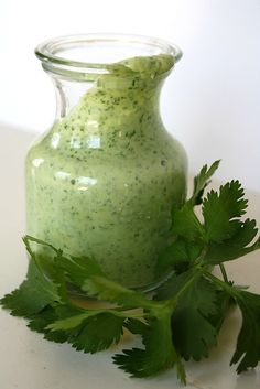 Ingredients 1 cup loosely packed cilantro, stems removed and roughly chopped 1/2 avocado (or 1/2 cup plain coconut or Greek yogurt) 2 Tbsp. fresh lime juice (about 1/2 lime), more to taste 1-2 garlic cloves 1/4 cup olive oil 1 1/2 tsp. white wine vinegar 1/8 tsp. salt Recommended: cumin, honey/agave