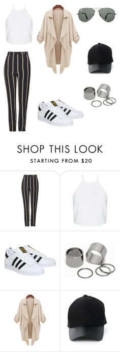 """""""too far"""" by her-aesthetic on Polyvore featuring Topshop, adidas, Pieces, Amiee Lynn, Ray-Ban, women's clothing, women's fashion, women, female and woman"""