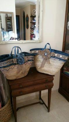 Capazos forrados con tejanos reciclados