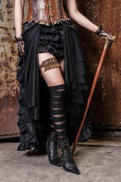 Gothic Steampunk Bustle Long Cap Skirt