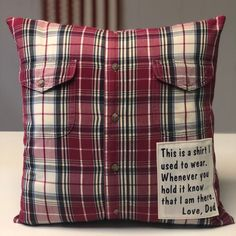 Memory Pillow/ custom made memory pillow with poem/ Custom Memory Pillow Memory Pillow From Shirt, Memory Pillows, Losing A Loved One, Custom Patches, Sewing Pillows, How To Make Pillows, Perfect Christmas Gifts, Cool Diy Projects, Handmade Bags