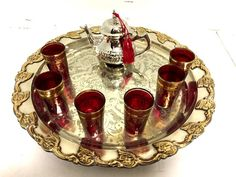 Moroccan Mint Tea Serving Set Antique Teapot & Tea Artisan Glasses Silver Tray  #Moroccan