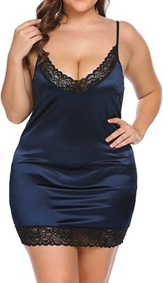 0a3945c0f95e0 Women s Plus Size Sexy Deep V -Neck Lace Full Slip Adjustable Spaghetti  Strap Chemise Under Dress Color  Acid Blue