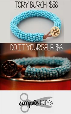 #DIY -- Learn how to recreate a Tory Burch beaded bracelet for a fraction of the price. Pin now, watch later. Super simple!