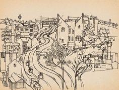 Koppstraße in Ottakring Tusche/Papier 22 x 29 cm abgebildet in Wilhelm Jaruska 2020, S. 8, Nr. 20 World War Two, Czech Republic, Beautiful Landscapes, Vienna, Two By Two, Artist, Animals, Paper, Interwar Period