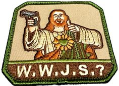 """[Single Count] Custom, Cool & Awesome {3"""" Inches} Square Religious Adult Humor What Would Jesus Do Text Gun Rights Badge (Funny Comedy Type) Velcro Patch """"Green, Brown & Tan"""" mySimple Products http://www.amazon.com/dp/B016YWCOSS/ref=cm_sw_r_pi_dp_5kLXwb1BCRDG3"""