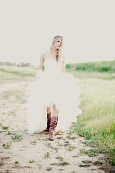 rustic high-low tulle wedding dress with cowboy boot