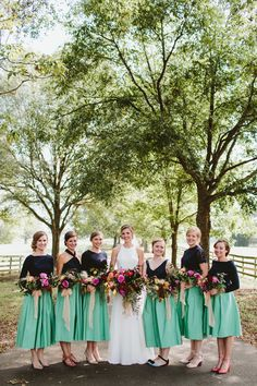 Now: Two-Piece Bridesmaids' Looks two piece bridesmaids angela zion greentwo piece bridesmaids angela zion green Striped Bridesmaid Dresses, Bridesmaid Separates, Winter Bridesmaid Dresses, Winter Bridesmaids, Green Bridesmaid Dresses, Brides And Bridesmaids, Wedding Dresses, Southern Wedding Inspiration, Wedding In The Woods