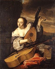 The Musician Bartholomeus van der Helst (Dutch, Oil on canvas. The woman tunes a theorbo-lute, and a viola da gamba rests in front of her. Some scholars have considered the. Rembrandt, Poster Prints, Framed Prints, Canvas Prints, Renaissance Music, Medieval Music, Anthony Van Dyck, Dutch Golden Age, European Paintings