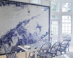 tile map in dining room