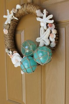 Summer Decorating 101, I love the glass balls on this wreath