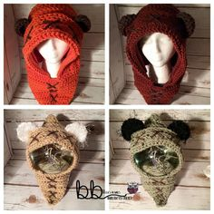 Ewok Hood Star Wars PATTERN ONLY Crochet Sizes: month month month month toddler child small adult large adult - Star Wars Ewok - Ideas of Star Wars Ewok - Crochet Gifts, Cute Crochet, Crochet For Kids, Crochet Baby, Knit Crochet, Star Wars Crochet, Crochet Stars, Ewok, Hood Pattern Sewing