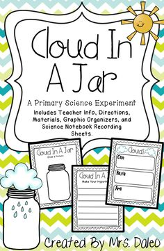 A primary science experiment to make a rain cloud in a jar. Great for a STEM classroom!