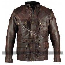 Vintage Brown Benjamin Button Long Biker Leather Jacket