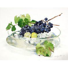 柘植彩子 水彩画 葡萄とレモン