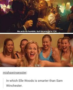 That's probably because Sam switched schools so offer he probably misses a couple of things and had to teach them to himself which would be tough. Plus Elle doesn't know anything about hunting so I guess technically Sam is still smarter than Elle woods