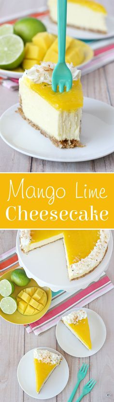This Mango Lime Cheesecake is rich, creamy and bursting with tropical flavor!