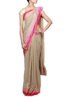 Grey saree featuring with gotta patti lace border only by Kalki - Kalkifashion.com