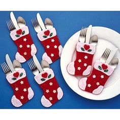 Christmas Stocking Silverware Pockets Felt Applique Kit, 4 inch x 6 inch, Set of 6 Size: 4 inch Set Of Six Felt Christmas Decorations, Felt Christmas Ornaments, Christmas Holidays, Felt Christmas Stockings, Christmas Projects, Christmas Crafts, Christmas Ideas, Cutlery Holder, 242