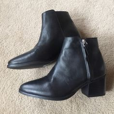 FLASH SALE Leather ankle boots TopShop Black leather TopShop ankle boots. Never worn. Still with tags. I bought the wrong size and realized two months later  I'm heartbroken. Bought from the soho store. Size 36, 5.5, but really fits like a 6. ❌no trades ❌NO LOWBALLING (this isn't a garage sale) Reasonable offers only please ❤️ Topshop Shoes Ankle Boots & Booties