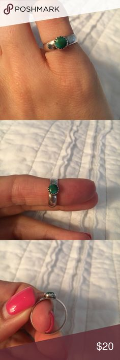 Size 4 sterling and turquoise ring Lovely ring with the prettiest deep turquoise stone. Jewelry Rings