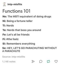 Lol super super super accurate for me (Ni Te Fi Se) Cognitive Functions Mbti, Mbti Functions, Meyers Briggs Personality Test, Intp Personality, Infj Mbti, Entp, Myers Briggs Personalities, 16 Personalities, Enneagram Types