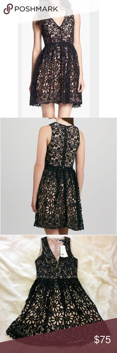 """NWT French Connection Lace Dress This French Connection daisy lace chain cocktail dress is brand new with tags! And it is GORGEOUS! Gives you a flattering silhouette. Open lace floral overlay with solid lining. V-neckline - sleeveless. Full a-line skirt seamed natural waist. Very Marilyn Monroe like! Fluted, scalloped hem. Falls to low thigh. 36"""" long front to back. Back zip. PREMIUM QUALITY FABRIC. French Connection Dresses Midi"""