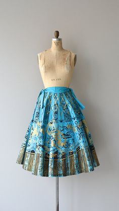 Lost City skirt vintage 1950s skirt hand painted by DearGolden