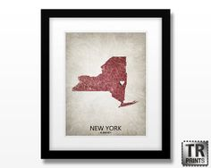 State Map Art of New York  Choose your City & Color  by TRPrints, $18.00