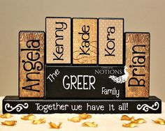 Personalized Family Wood Blocks Sign by TimelessNotion on Etsy