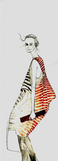 Cool fashion illustration - chic stripes, fashion drawing