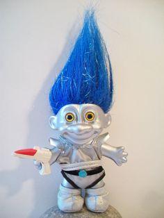 Alien Russ Troll Doll Blue Hair Silver Skin by ALEXLITTLETHINGS