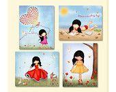 Set of four art prints for kids room girls room decor by jolinne