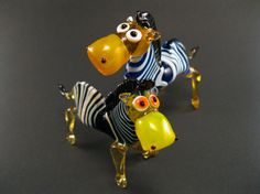 Blown Glass Zebra Miniatures, Father and Son, Zebra, Glass Zebra, Handmade, Glass, Gift, Zebra Figurine, Glass Figurine, Fused Glass, Family