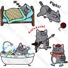 Kawaii cats clipart 3 Digital cats Kawaii cat от SquirrelArtDesign