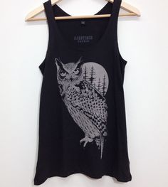 vest woman with OWL print on full moon. .100% black soft cotton. Original design done by hand and printed in serigraphy
