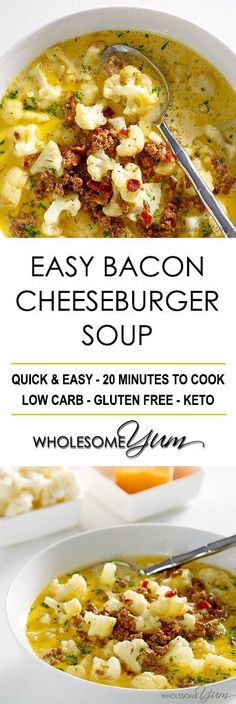 Bacon Cheeseburger Soup (Low Carb, Gluten-free) - This easy bacon cheeseburger soup recipe is like comfort in a bowl. Low carb, gluten-free, keto, and healthy. No crockpot required.