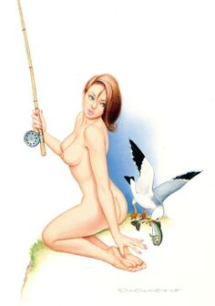 Fishing 1990s | Archie Dickens pinup #pinupartsource #archiedickens