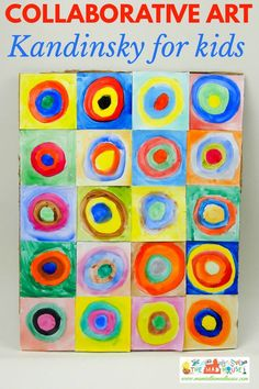 Kandinsky for kids - concentric circles in squares   This beautiful piece of collaborative art is inspired by the works of Vasily  Kandinsky.  It is a fantastic way to introduce children to the work of an artist and a fun craft DIY for all the family. Kandinsky for kids - concentric circles in squares