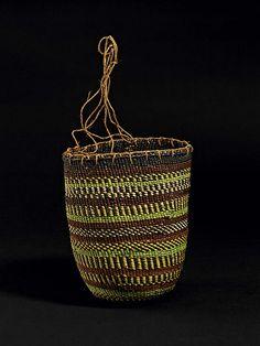 Australian Season: Dilly bag of natural and dyed pandanus fibre