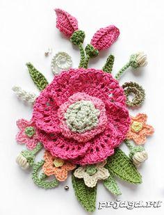 Цветы крючком, панно