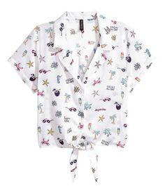 Tie-front viscose blouse | White/Palms | LADIES | H&M NZ