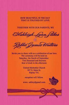 Pink and orange wedding invitations by CreativeArtbySheila on Etsy