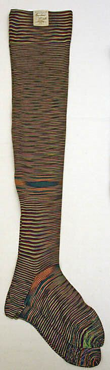 Stockings  Mr. Callum Hosiery Co.   Date: 1880 Culture: French Medium: silk Dimensions: Length: 31 in. (78.7 cm) Credit Line: Gift of Mrs. John G. Milmoe, 1993 Accession Number: 1993.1.2a, b