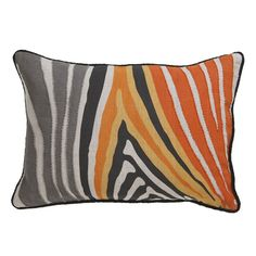 The Zulu is a stunningly bold decorative pillow. This modern pillow makes for an exotic home accent piece with orange, yellow, gray, off-white, and black color.