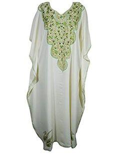 2213bc3a07a Womens Beachwear Dresses Kimono Kaftan Regina Embroidered Maxi Long Resort  Wear One Size Crepe Fabric,
