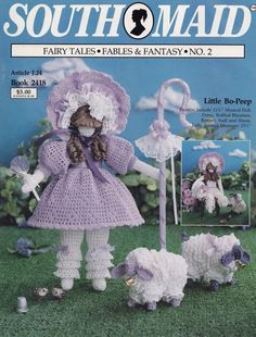 Little Bo Peep Fairy Tales Fables & Fantasy No 2, South Maid J P Coats Crochet Doll Pattern Booklet 2418 OOP and HTF